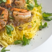 Roasted Spaghetti Squash with Shrimp Pasta