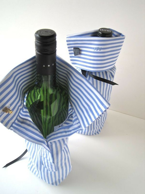 Recycle Shirt Sleeve Wine Wrapper