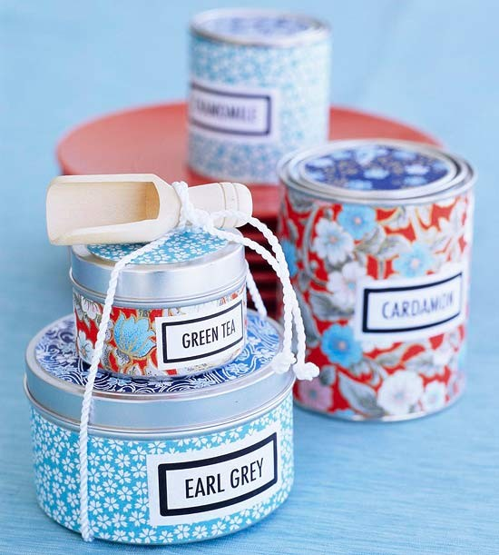 Scrapbook Paper Wrapping Tins