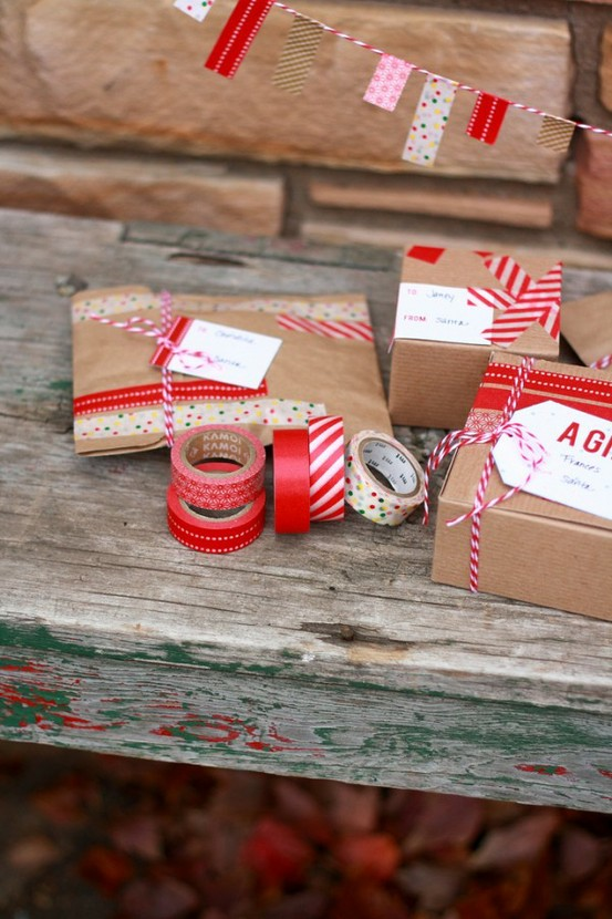 Washi Tape as Decorative Wrapping Paper