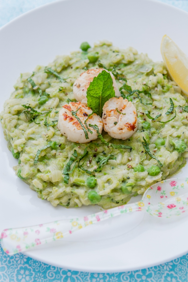 Green Risotto with Seared Scallops-14