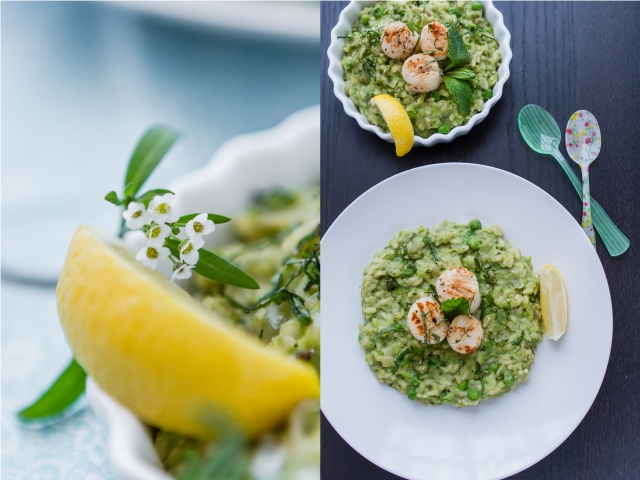 Green Risotto with Seared Scallops