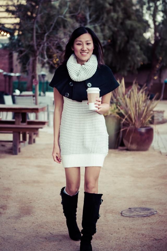 Sweater Dress and Black Cape